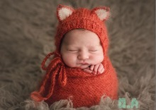 Newborn Fox Hat With Matching Wrap Photo Props Baby Scarf Photography Props