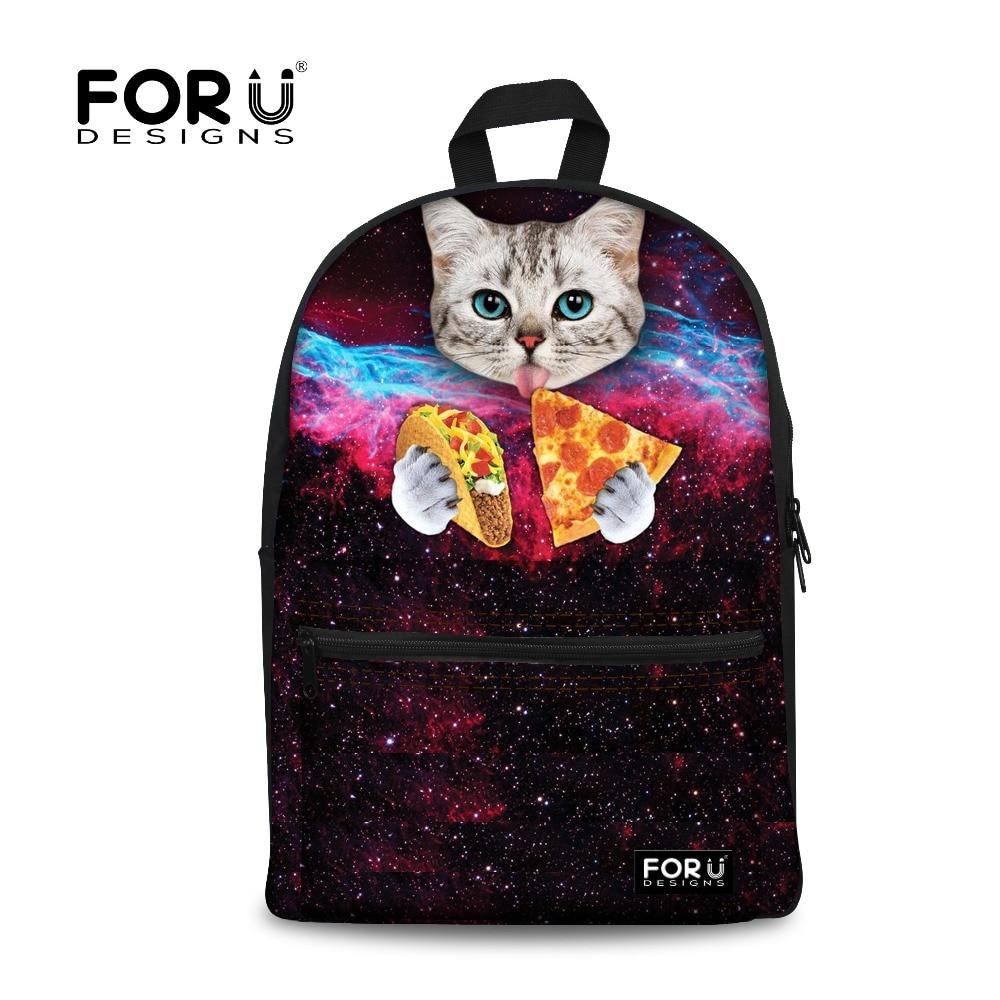 a basso costo 71ac1 c860b US $25.59 20% di SCONTO|FORUDESIGNS Donne Tumblr Sacchetti di Scuola della  ragazza di Stile 3D Galaxy Piza Cat Stampa per le Ragazze Giovani Zaini ...