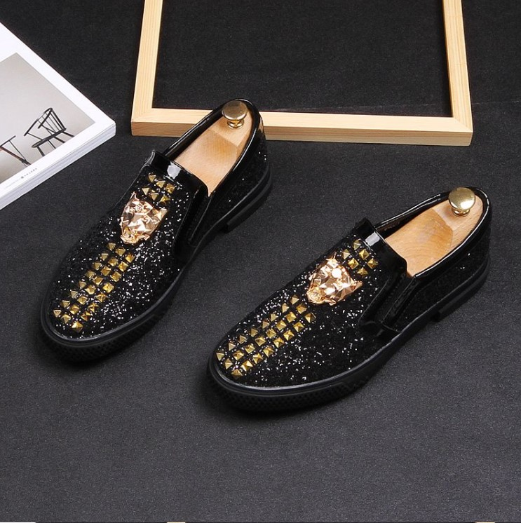 Men Brand Designer Shoes Glittering sequins Studded Rivet Spike Loafer shoe For Male dress wedding shoes Sapato Social Masculin 6