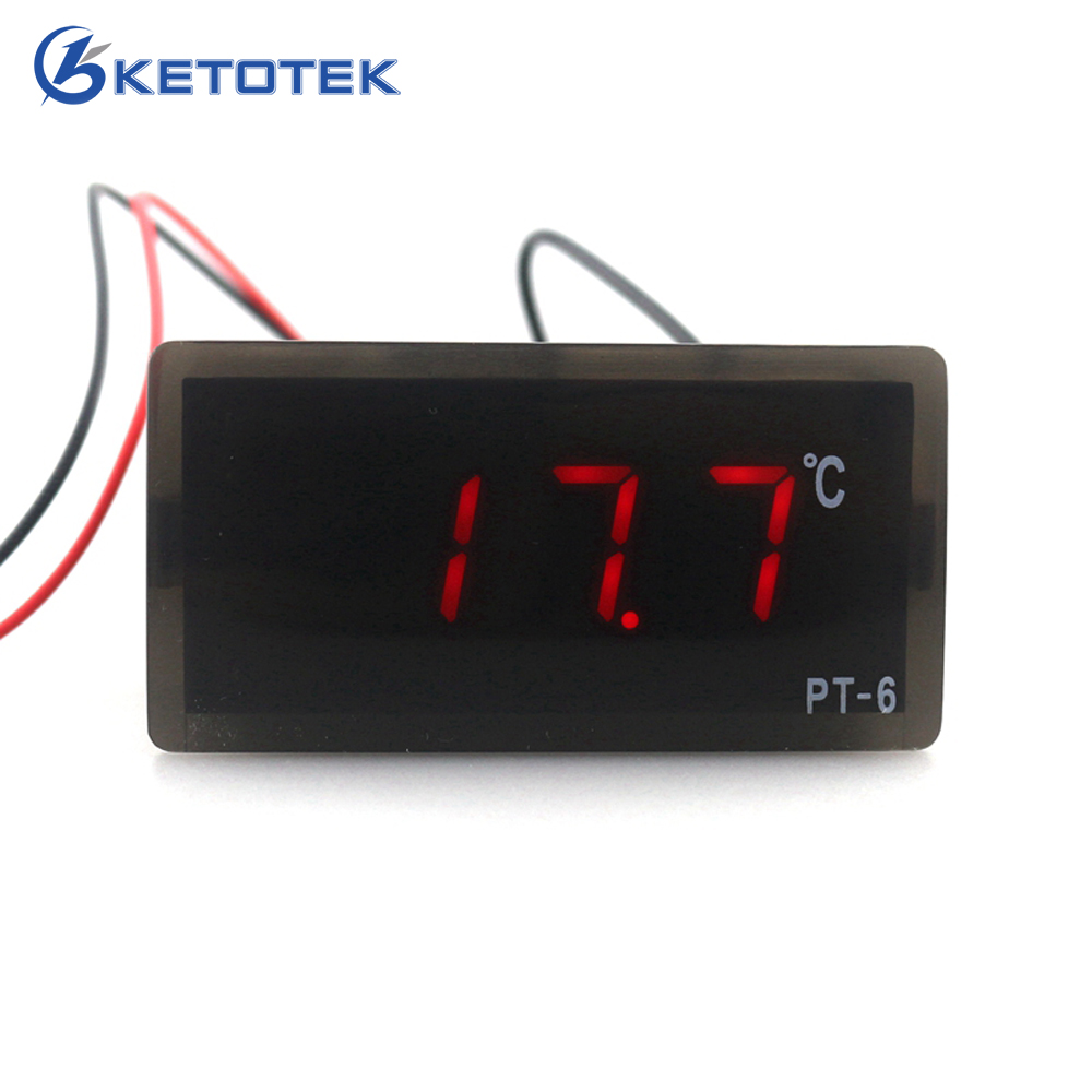 цена на PT-6 Embedded Digital Temperature Meter -40~110C Vaccine Box Thermometer with 2m Temperature Sensor