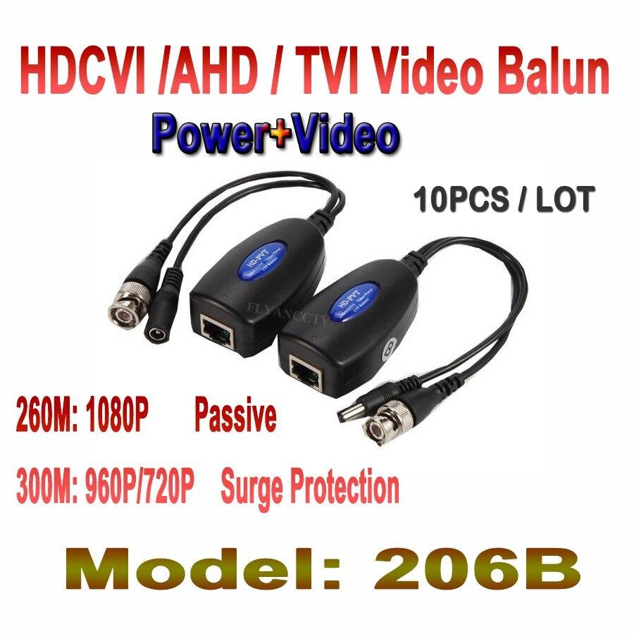10 Pair 1CH Passive Balun RJ45 CCTV Balun Video Balun Transceiver Supply Power For HDCVI/HDTVI/AHD Analog High Definition Camera 4pcs 12v 1a cctv system power dc switch power supply adapter for cctv system