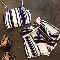 New Sexy Printing Color Stripe Bare Back Stripe Vest 2 Pieces Set 0742