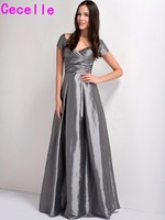 Grey Modest Long Bridesmaid Dresses 2017 With Sleeves V Neck Vintage Pleats Taffeta A Line Formal