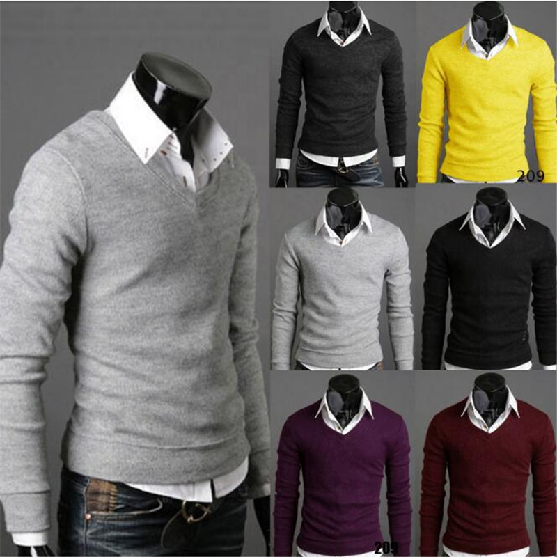 2019 New Fashion Sweater Men Long Sleeve Pullovers Outwear Man V-Neck Sweaters Tops Loose Solid Fit Knitting Clothing Casual