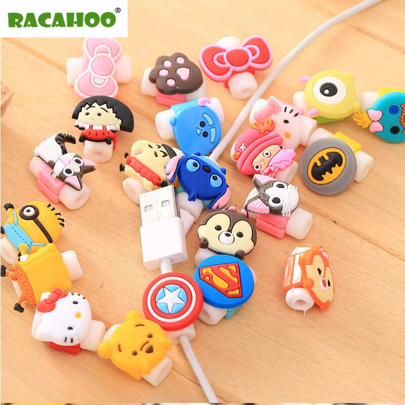 RACAHOO 5pcs Cute Cartoon Earphone Protector For iPhone USB Charging Data Line Cord Protector Protective Case Cable Winder Cover