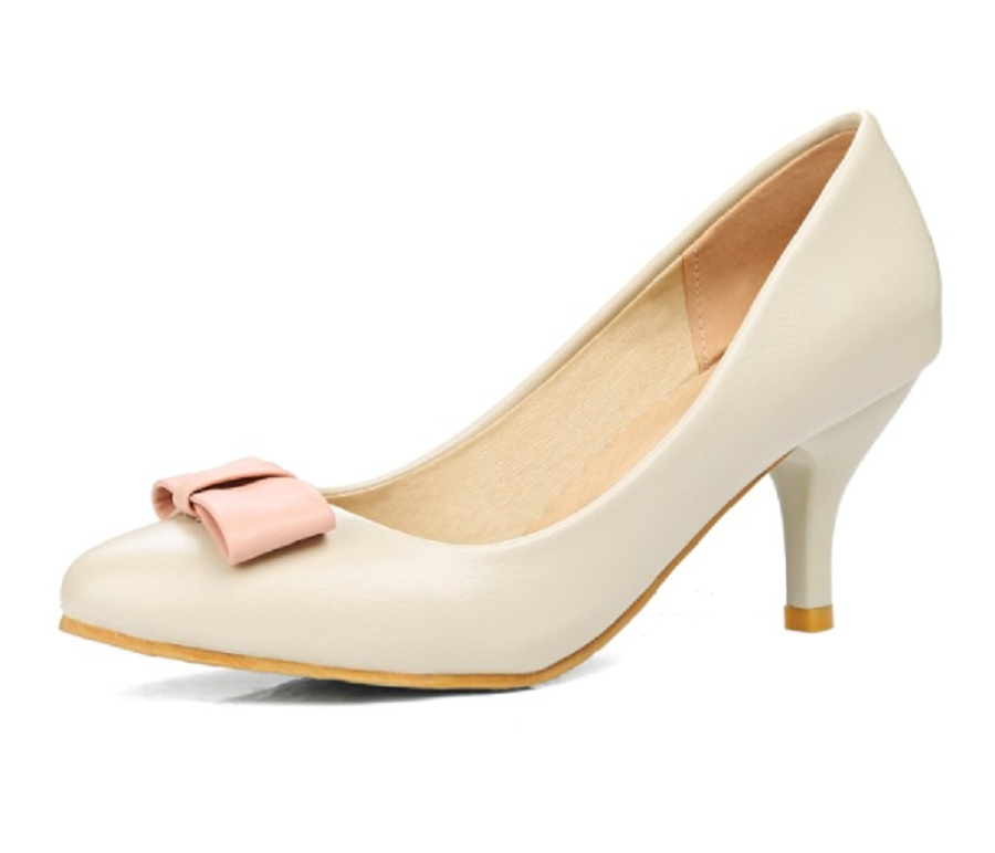 spring/autumn shoes woman high heel shoes 2017 7cm thin heels butterfly-knot pointed toe 3 11 big size office ladies shoes pumps