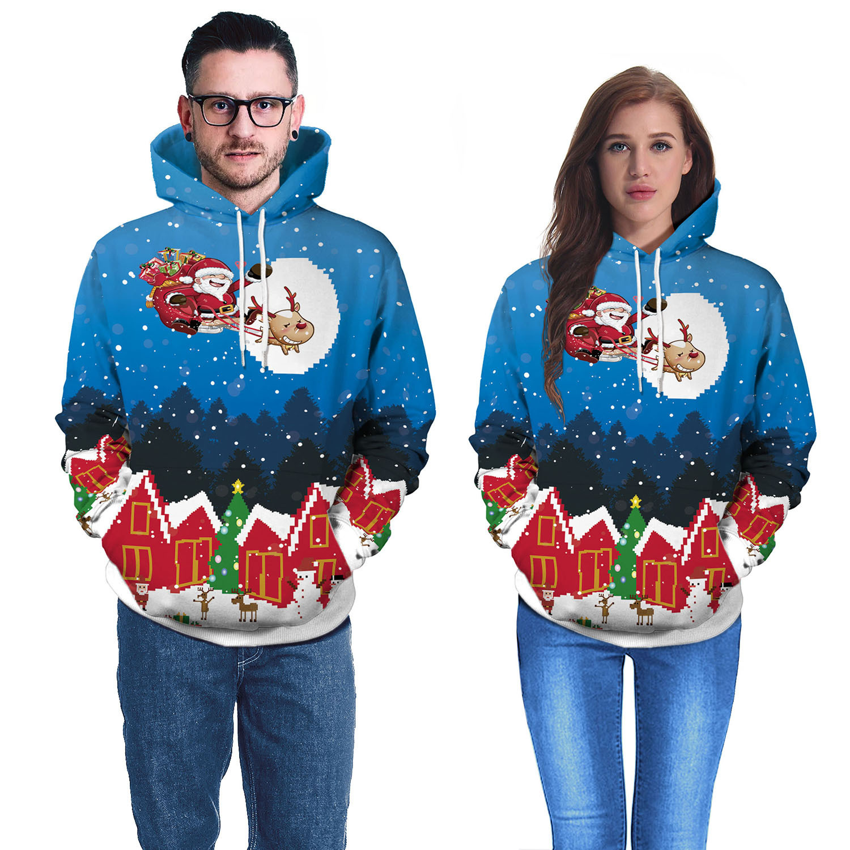 2019 New Hooded Sweatshirts Christmas Digital Printed Hooded Sweatshirts Hoodies Women  Long Sleeve Tops Womens Hoodies Pullover