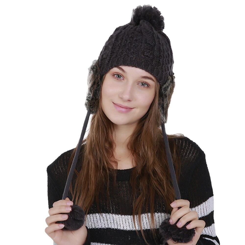 Feitong Women Warm Cap Crochet Winter Pompom Caps Wool Knitting Ski Hairy Bulb fashion female Beanie Hat Protect Ears
