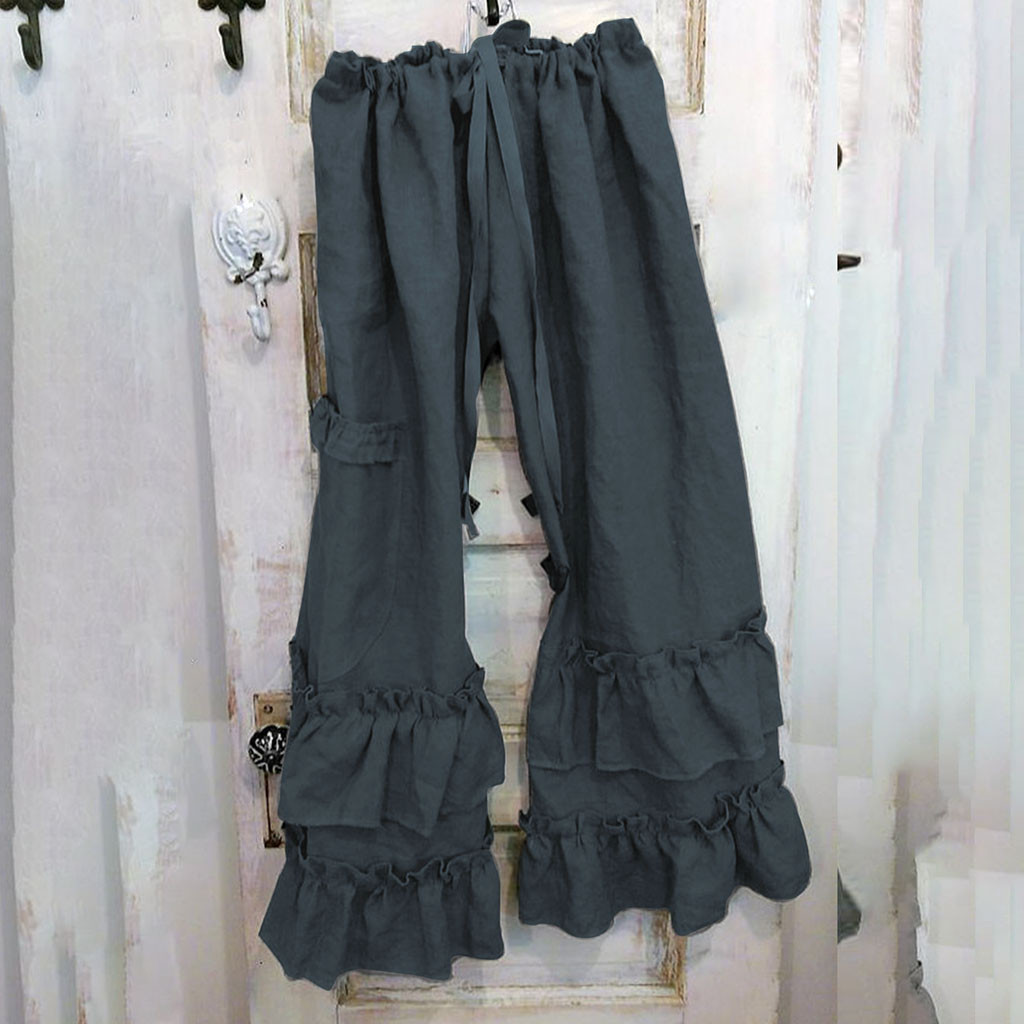 Women Plus Size   Wide     Leg     Pants   Solid Cotton Linen Ruffles Hem Casual Loose   Pants   With Pocket Drawstring Waist Summer Trousers