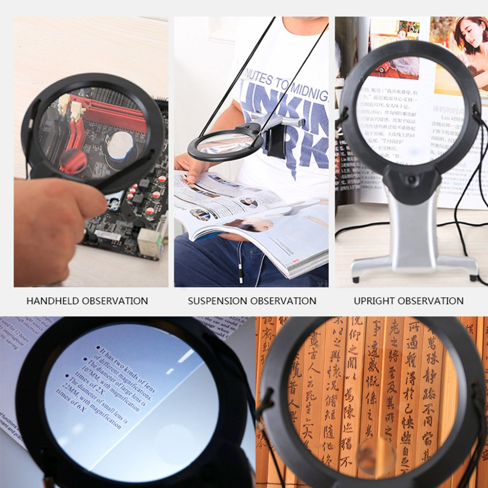 Magnifier 2X6X 2-in-1 Hands-free Reading Magnifying Glass w Light Desk Lamp Tool