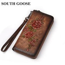 SOUTH GOOSE Fashion Women Wallet Genuine Leather Luxury Long Clutch Handy Bag Printing Floral Female Card Purse Money Clips