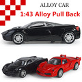 1:43 alloy car models, high simulation supercar toy car with sound and light back to power, free shipping