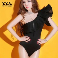 Women Sexy Bodysuit Romper One Shoulder Ruffles Night Club Ladies Singer Stage Show Clothing Jazz Pole