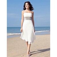 LAN TING BRIDE Sheath / Column Spaghetti Straps Tea Length Chiffon Custom Wedding Dresses with Sequin