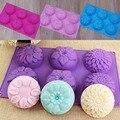 6 Полость цветок 3 типа формы силиконовые DIY ручной работы мыло свечи торт плесень поставки