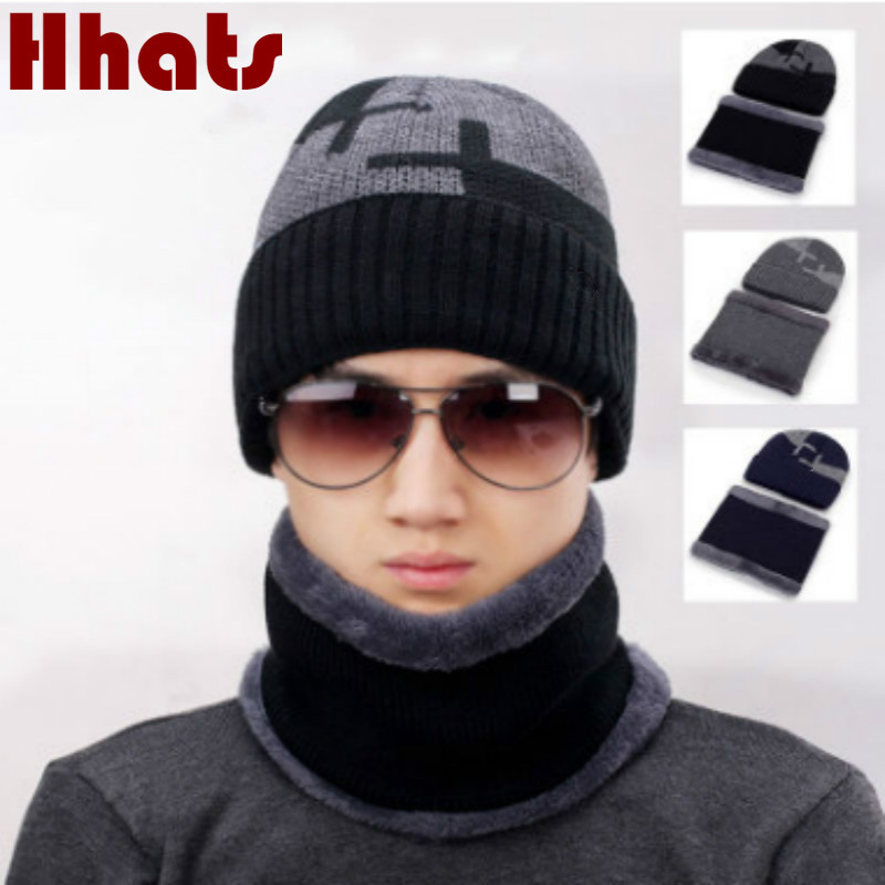Thickened Warm Winter Hat Scarf Set For Men Fashion Fleece Lining Scarf And Cap Sets Male Plus Velvet Warm Winter Accessories