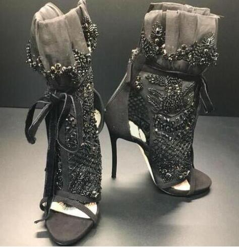 1c2f8a905c0 negro Toe de Elegantes cristal Peep mujeres botines de lujo encaje de  wxptqHf