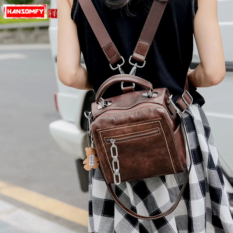 2018 new Women small backpack Genuine Leather female shoulder bag retro fashion tide package diagonal Backpacks womans backpack black leather genuine mini backpack women 2017 new female small shoulder bags sweet lady backpacks