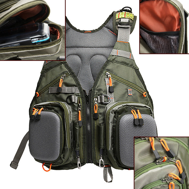 Multi function fishing backpack vest professional for Backpack fishing rod