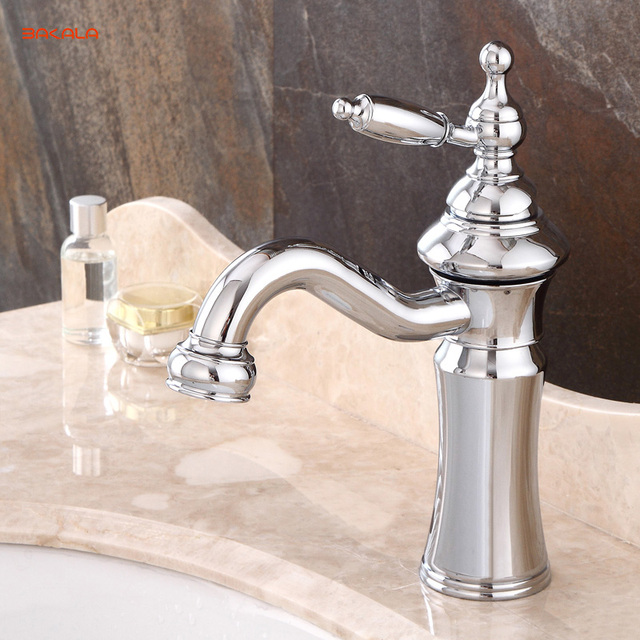 Bakala Fashionable Tap Bathroom Chromed Mixer Single Handle Hole Surface Mounted Sink Faucet Br