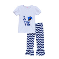Cheerleader Design Girls Boutique Clothing Set LOVE Embroidered Football Decoration Wavy Striped Ruffle Pants Outfits ST062