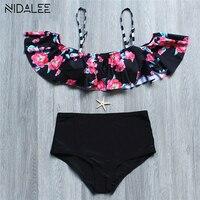 High Waist Swimwear Women Swimsuit Bikini 2017 Brazilian Floral Print Bikini Set Bandeau Bathing Suit Push