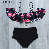 High Waist Swimwear Women Swimsuit Bikini 2017 Brazilian Floral Print Bikini Set Bandeau Bathing Suit Push