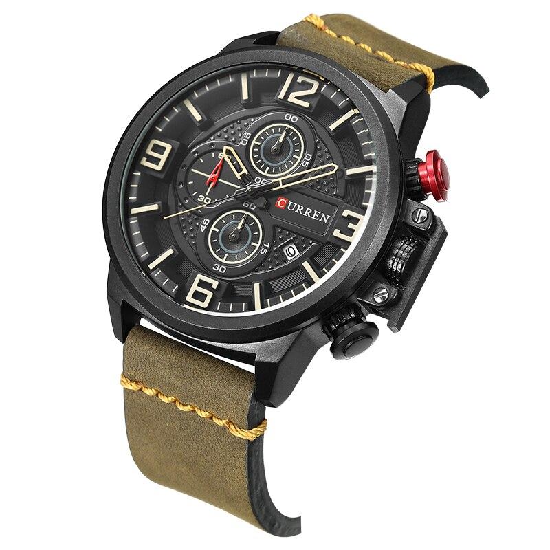 Image 3 - CURREN Sports Analog Army Military Men Watches Calendar Casual Quartz Clock Wristwatch Relogio Masculino Horloges Mannens SaatQuartz Watches   -