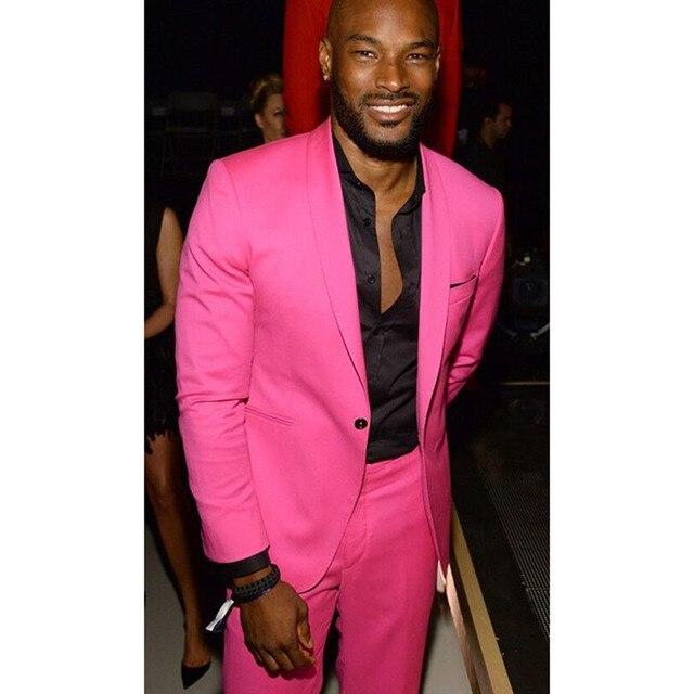 2 Pieces Hot Pink Shawl Lapel Casual Men Suit Slim Men\'s suit Party ...