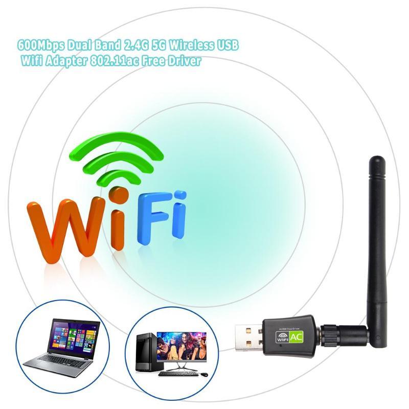 Banda Dual a 600 Mbps tarjeta de red inalámbrica USB 2,0 antena WiFi Dongle adaptador LAN inalámbrico 802.11ac/a/b /g/n 5g 2,4 GHz tarjeta de red