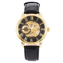 Hommes montre mécanique Winner luxe en acier semi-automatique classique squelette bracelet en cuir montre-bracelet