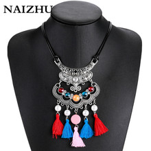 Vintage Bohemian Choker neckalces for Women Trendy leather chain alloy tassel pendant maxi Necklace women jewelry Accessories