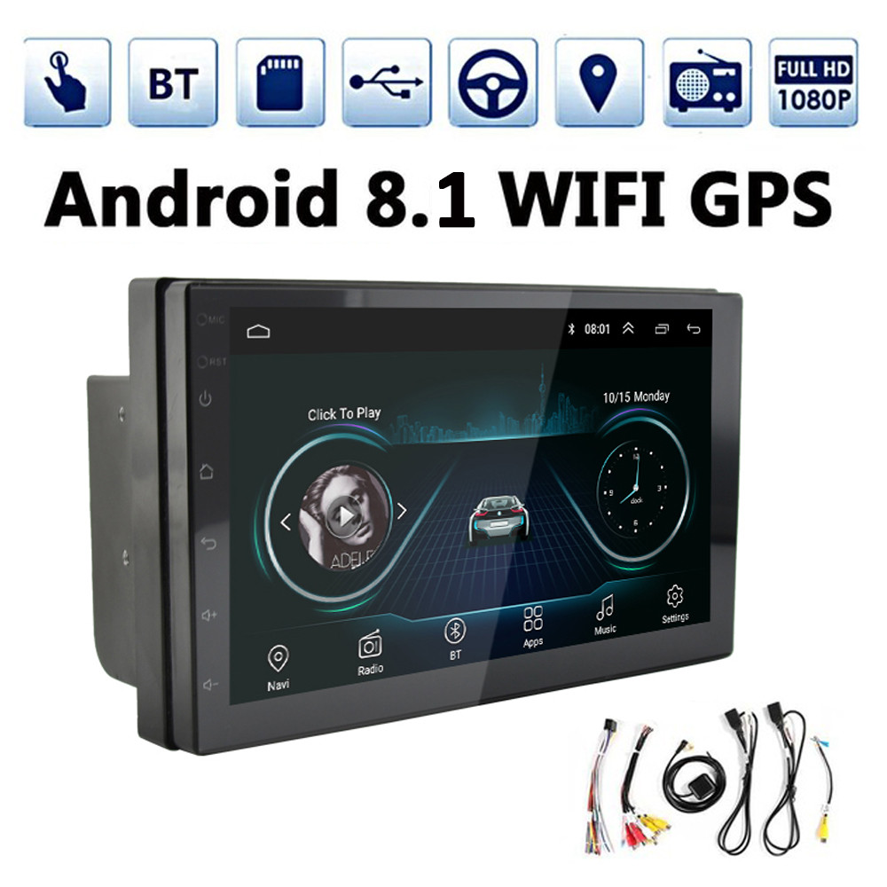 2 Din 7 Car Stereo GPS Navigation Android 8.1 1024*600 Car Radio Multimedia Player Mirror Link Bluetooth Parking Camera