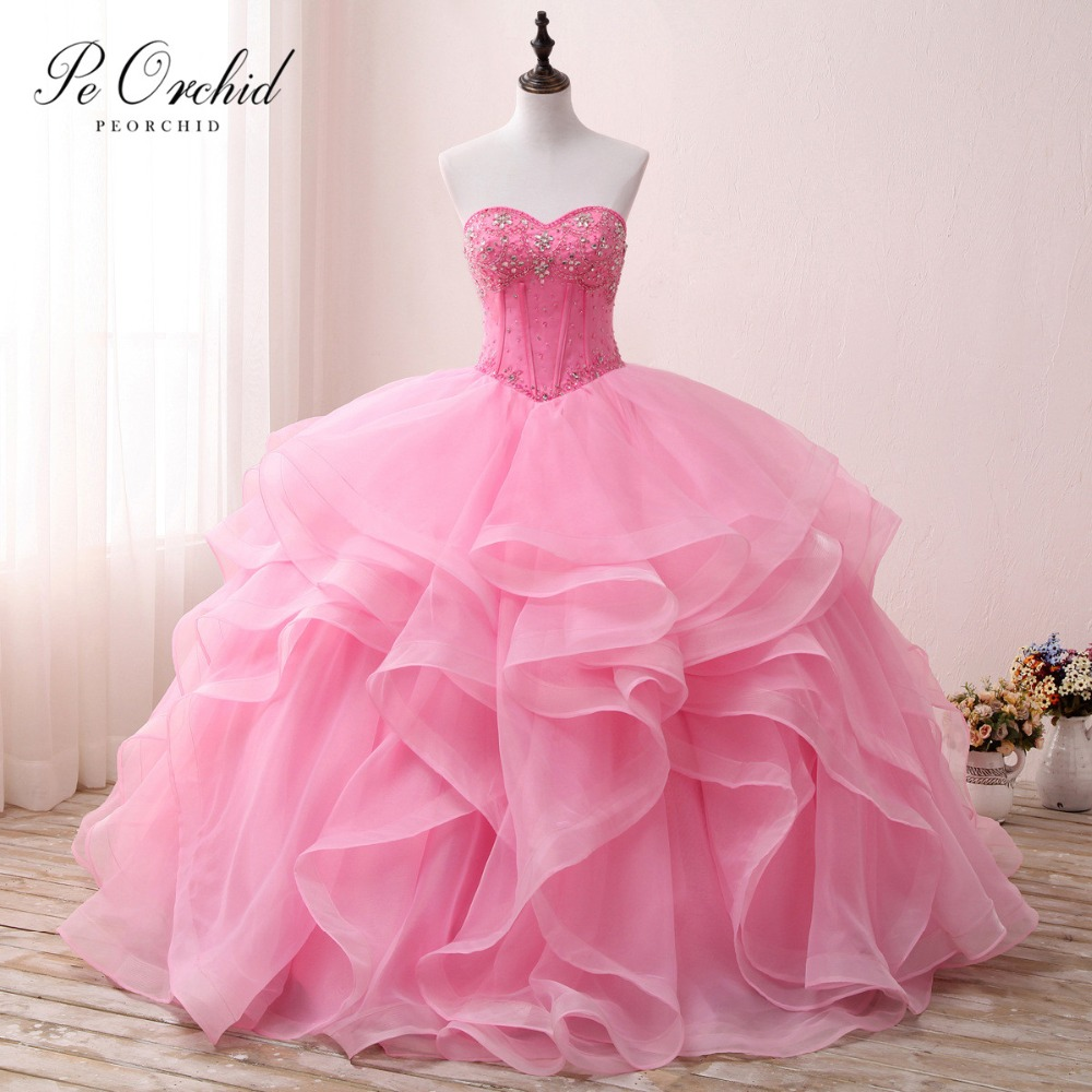 274b0aeafd81c PEORCHID Luxury Prom Ball Gowns For Girls Tiered Tulle Sweet 16 Dress 15  Birthday Puffy Crystal Pink Quinceanera Dresses 2019