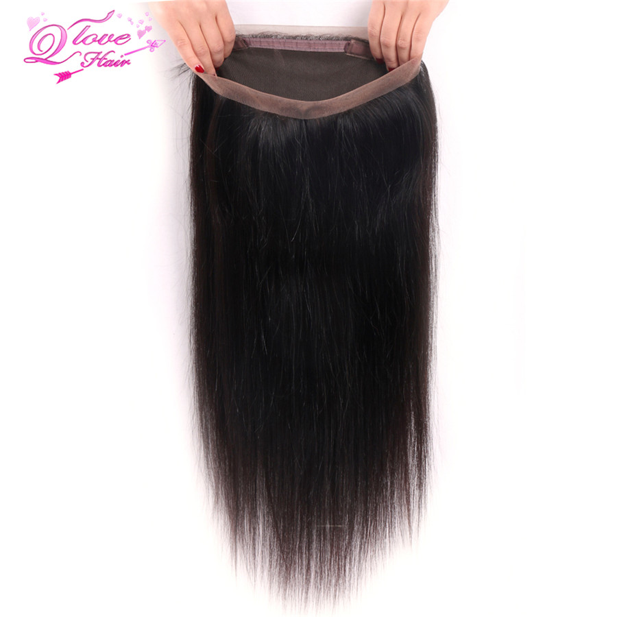 Queen Love Hair 360 Lace Frontal Closure For Black Women Brazilian Straight Lace Front Human Hair Closure Remy 10-20 Inch
