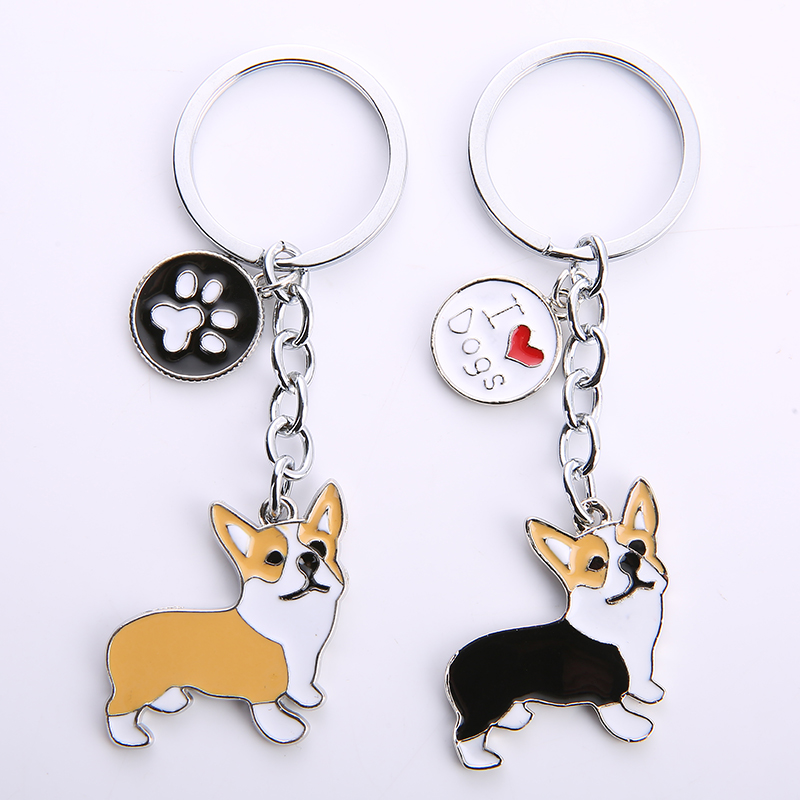 NEW Cute Welsh Corgi Dog Key Chain For Women Handbag Pendant Keychain Key Ring Man Car Key Holder Charm Jewelry I LOVE DOG GIFTS