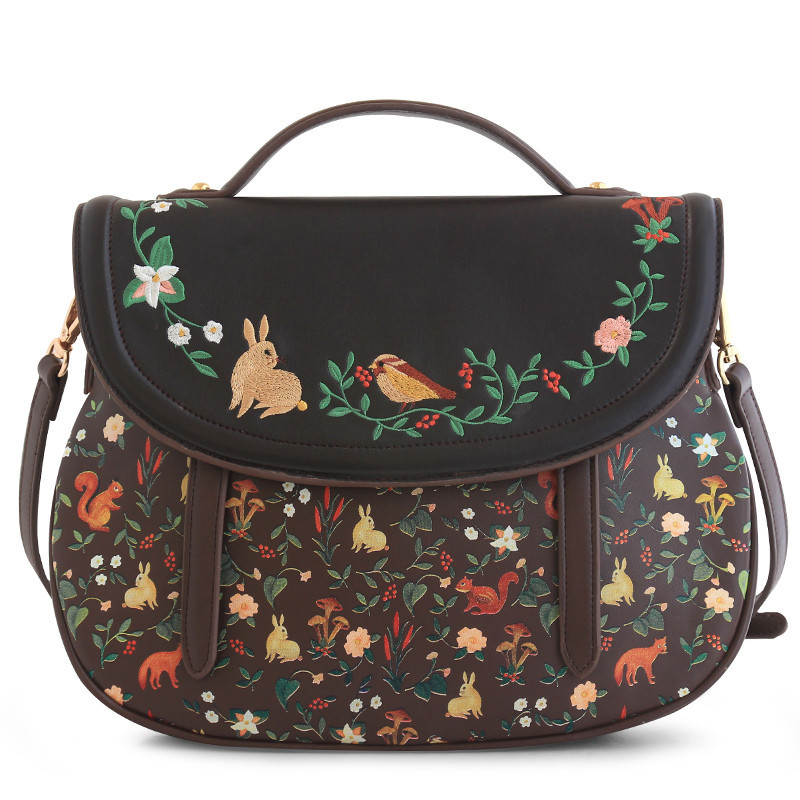 Fashion Women s PU Leather Handbags Ladies Cartoon Embroidery Rabbit Tote Bags Female Saddle Printing Corssbody