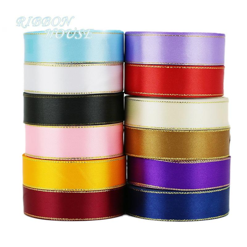 Мм (25 ярдов/рулон) 25 мм атласная лента Белое золото край оптовая продажа высокое качество подарочная упаковка лента рулон