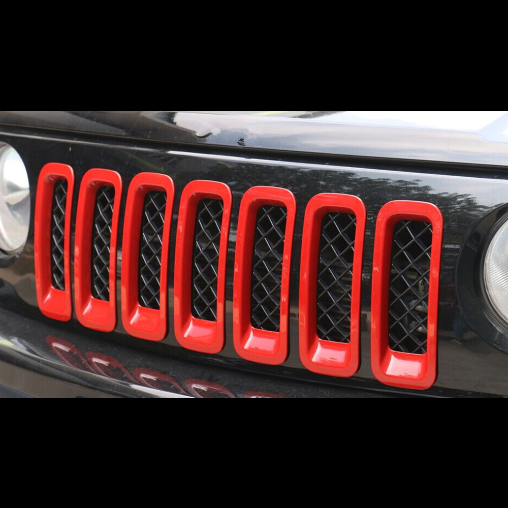 ФОТО For Jeep Patriot 2011 2012 2013 2014 2015 Red Chrome Front Center Grille Grills Cover Trim Decoration 7Pcs Per Set