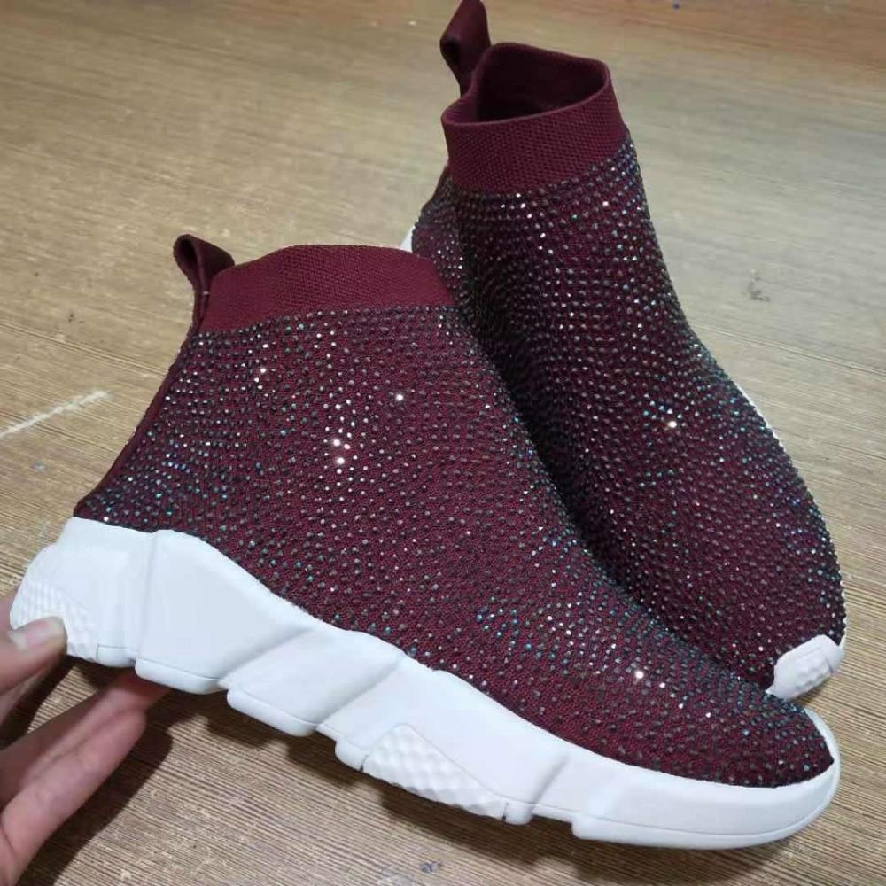 Baskets femmes cristal chaussette bottes Sport Bling strass chaussures tricoté respirant chaussures femme luxe chaussures décontractées dames Sneaker - 4