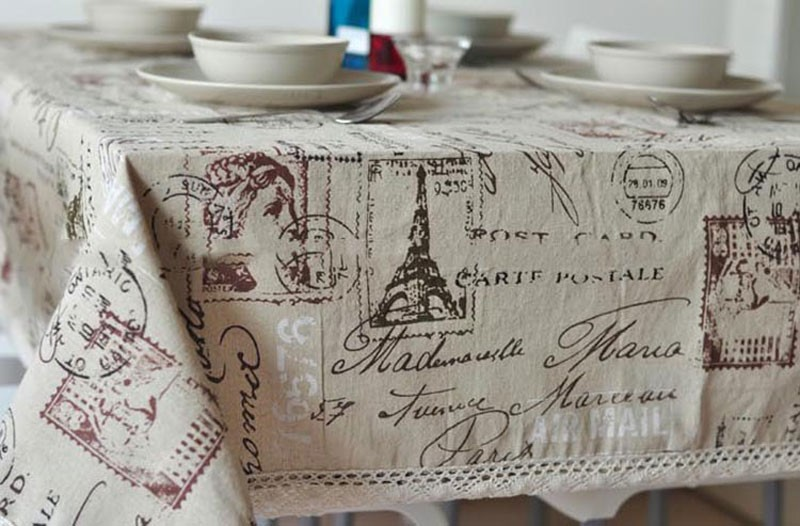 GIANTEX Tower Print Decorative Table Cloth Cotton Linen Lace Tablecloth Dining Table Cover For Kitchen Home Decor U0996 7