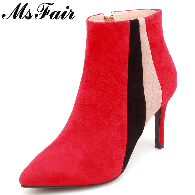 купить MSFAIR Pointed Toe Mixed Colors Women Boots Fashion Zipper Ankle Boots Women Shoes Concise High Heel Ankle Boots Shoes Woman по цене 4052.65 рублей