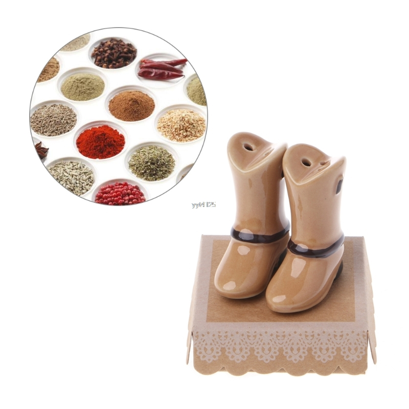 Ceramic Salt Pepper Shaker Brown Shoes Shape Seasoning Pot Cooking Tableware Salt Pepper ...