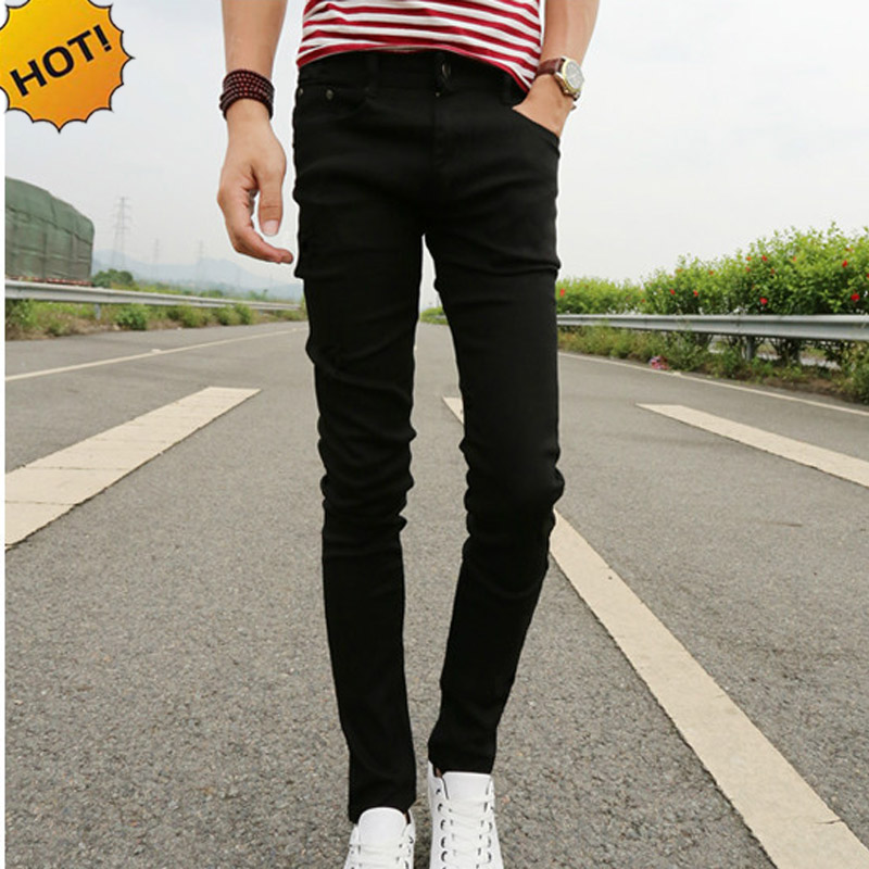 New 2019 Spring Summer Skinny Jeans Mens Leisure Stretch Feet Pants Tight Black Length Trousers Cheap Pencil Pants Men Wholesale