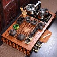 Китай фиолетовый глины кунг фу Чай комплект дома Керамика Чашки Чай набор Электрический магнитного печи Чай Тайвань деревянный поднос Чай