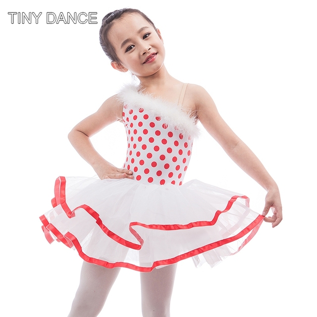 48521a77c8 Kid Red Polka Dot Spandex Leotard with White Trunk Attached Red Ribbon in  the Tutu Edge