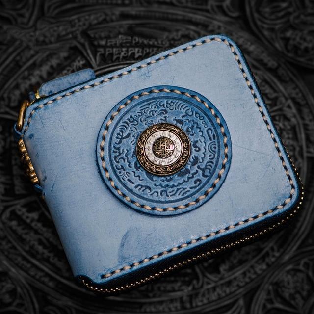 Fun unique creative rotating hand-mist wax calfskin wallet women luxury brand luxury short square zipper men wallets