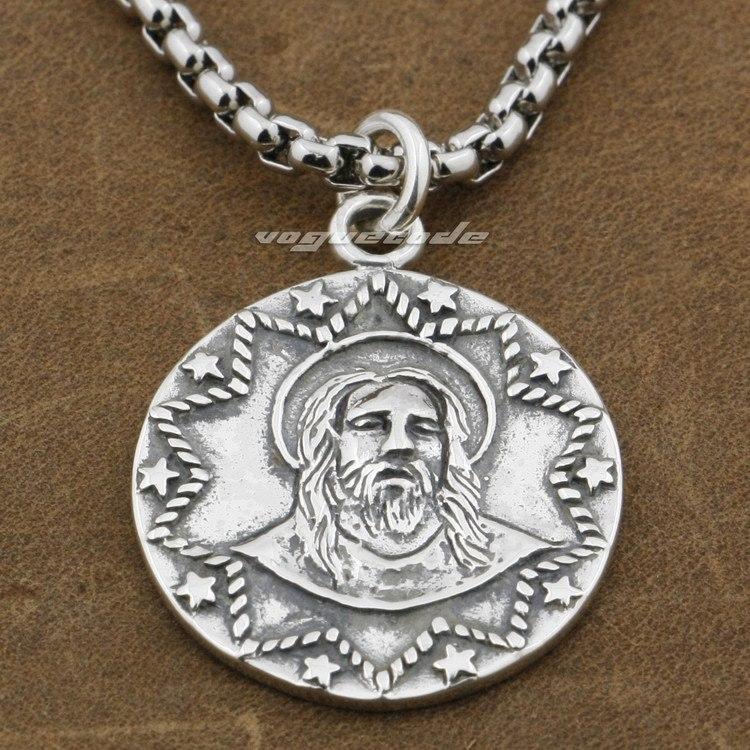 925 Sterling Silver Jesus Christ Mens Biker Rocker Pendant 9E006A(Necklace 24inch) отсутствует jesus christ 100 and 1 quotes