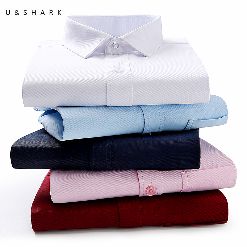 U&SHARK Mens Dress Shirt Long Sleeve Solid Business Cotton Twill Top Formal Simple Basic Design Work Office Shirts High Quality