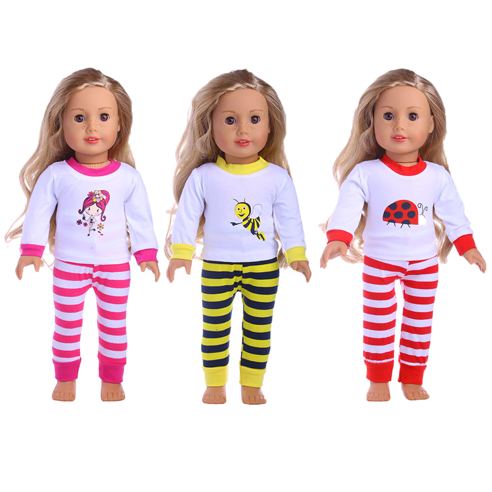 Fleta 3 Styles fashion set pajamas clothes and accessories 18 inch American girl's doll american girl doll clothes 4 styles elsa blue lace princess dress doll clothes for 16 18 inch dolls baby doll accessories x 2
